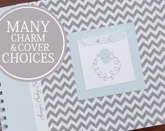 Baby Shower Guest Book | Guestbook | Lamb Sheep | Personalized Baby Shower Memory Book | Baby Boy Blue | Gray Chevron & Blue with Lamb Charm