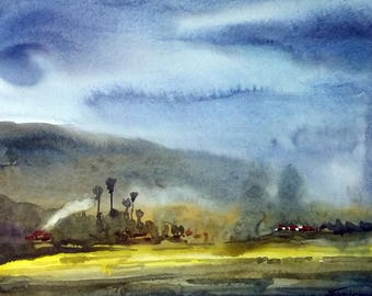 Monsoon Mountain - Watercolor Painting on Paper