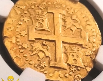 "PERU 1746 ""STARS"" 8 escudos ngc xf pirate gold treasure cob coin fleet"