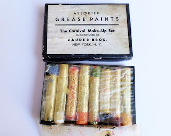 Vintage Zauder Bros Grease Paint, Vintage Carnival Make-Up Set, Vintage Clown Make-Up Kit, Early 20th Century Carnival Supplies