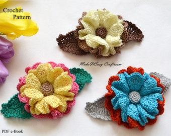 Crochet flower applique pattern Floral crocheted applique Easy to make flower pattern pdf Crochet flowers for home decoration Crochet brooch
