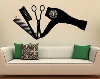Hair Salon Tools Wall Decal Vinyl Stickers Hairdressing Salon Interior Design Art Murals Decor (25b01p)