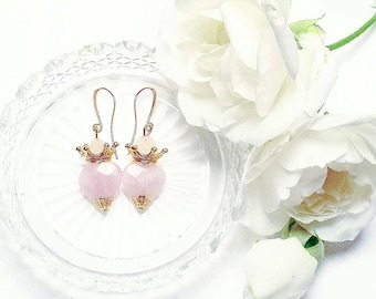 Handmade Faceted Rose Quartz Sacred Heart earrings, Mother's Day, Antique bronze, gold or silver, Pink Quartz, Catholic Milagro