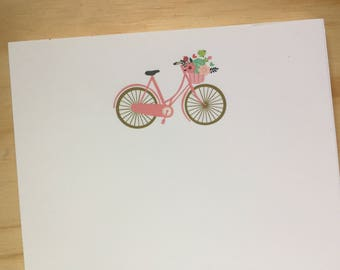 vintage bicycle notepad, stationery, bike basket with flowers, to do list