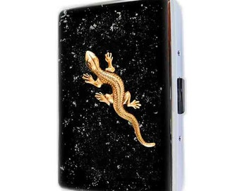 Metal Cigarette Case Antique Gold Lizard in Hand Painted Glossy Black Enamel Reptile Metal Wallet Neo Victorian