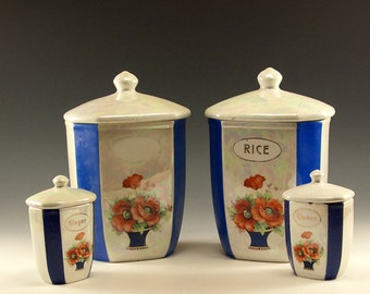 Vintage Four Piece Collection of Czechoslovakian Kitchen Counter Storage Containers - Blue Stripes with Orange Poppies