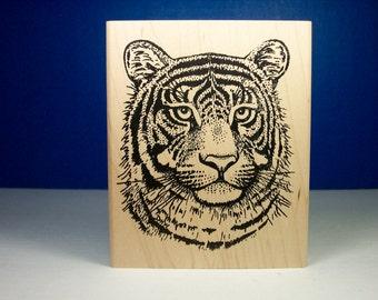 Rubber stamp-Tiger stamp- animals stamps- Tiger face stamp Sarasota Stamps