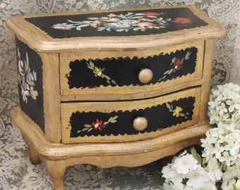 Italian Florentine Jewelry Chest, Florentine Hand Painted Floral Tole Black and Gold Gilt Miniature Chest, Florentine Jewelry Box