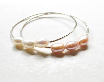 Pearl Bangle Bracelet, 3 Pearl Bracelet, White Pearl Bangle, Peach Pearl Bangle, Pearl Bracelet Sterling