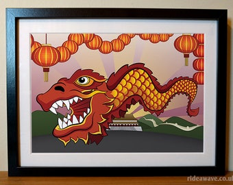 Chinese Dragon Print, Chinese New Year, Dragon artwork, Dragon print, Dragon poster, Chinese Dragon