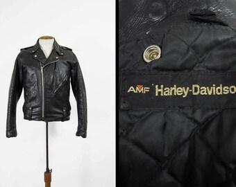 Vintage Harley Davidson Motorcycle Jacket AMF Black Leather Biker Coat - Size Medium
