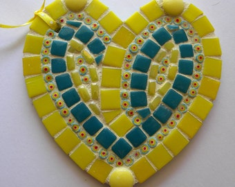 Yellow Turquoise Heart Ornament, Mother's Day Gift, Mosaic Christmas Ornament, Hostess Gift, Gift for Grandmother, Godmother Gift
