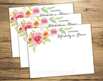 Custom Notecards, Personalized Flat Cards Set Of 15, Floral Print Note Cards, Custom Stationery Cards, Watercolor Flowers Notecards