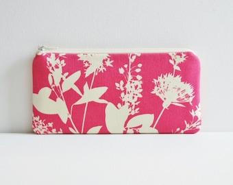 Zipper Pouch, Women's Wallet, Pencil Case, Wildflowers in Pink, Joel Dewberry Ginseng