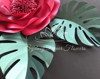 Monstera LEAF template for paper flowers and video tutorial/ pdf SVG cricut silhouette cameo paper leaf pattern/Paper leaf template