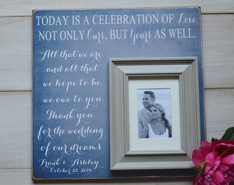 Parents Thank You Gift Personalized Picture Frame Custom Today Is A Celebration Love, Mother of Bride Gift 16x16