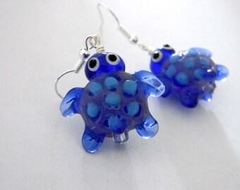 Turtle Lampwork Glass Earrings Cobalt Blue Tortoise Earrings with Light Blue Spots