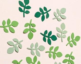 225 Green Leaf Confetti Mixed Green Confetti Leaf Confetti Garden Party Confetti Birthday Confetti Confetti Green Confetti Die Cut