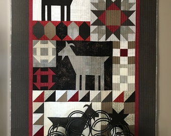 Country Goat Quilted wallhanging or throw, Grey, red and beige wallhanging, Handcrafted modern decor