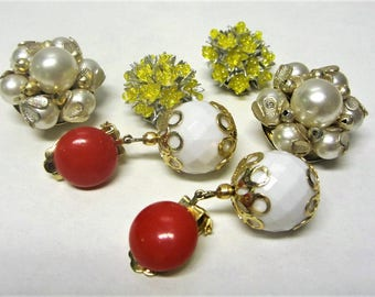 Beaded Clip On Earrings Signed Hong Kong 1960s Lot of 3 Pairs Vintage Earring Lot