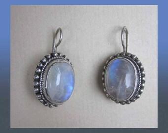 Magical MOONSTONES, Lovely Sterling Silver and Moonstone Earrings, Beaded Setting, Pierced Ears, June Birthstone, Vintage Jewelry, Women
