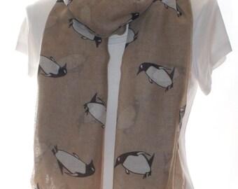 Beige penguin Scarf shawl, Beach Wrap, Cowl Scarf, beige penguin print scarf, cotton scarf, gifts for her
