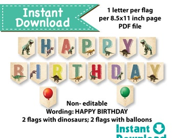 Dinosaur birthday banner. Instant Download. Vintage rustic colorful dinosaur happy birthday banner. Printable DIY Digital file. KB141