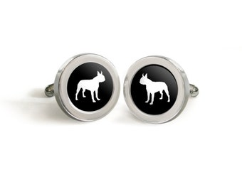 Boston Terrier Silhouette Cufflinks for Him - Mod Dog Custom Dog Dad Pet Lover Valentines Cuff Links in your choice of color