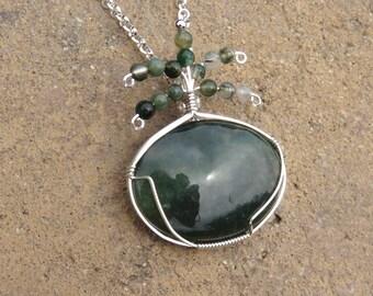 S-114 Moss Agate Silver Wirewrapped Pendant Necklace, Moss Agate Pendant, Agate Jewelry, Agate Necklace, Agate Pendant