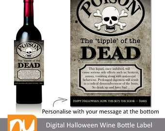 Print Your Own Fun Digital Halloween Poison Wine Bottle Label.  Personalise with your own message.