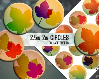 Fall Leaves Autumn Leaf 2.5 Inch and 2in Circle Digital Collage Sheet Download Printable Images for Gift Tags Cards Scrapbooking JPG