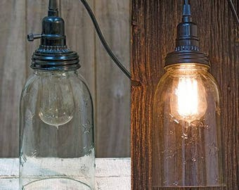 "8"" Mason Jar Hanging Lamp  with Cord"