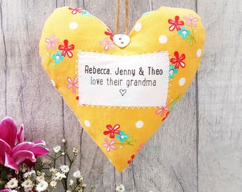 Gift for Grandma / Gran / Granny - Personalised Heart - choice of fabric -  Supplied Gift Boxed