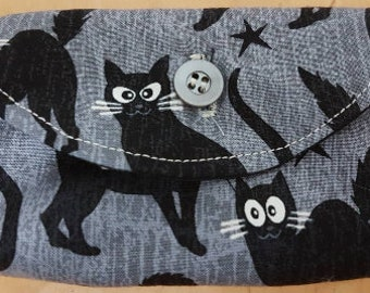 Tarot Card Pouch - Black Cats with Glow in the Dark Eyes