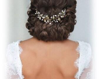 Vigne de cheveux mariage ivoire doré Fleurs