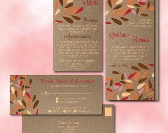 Fall Leaves Wedding Invitation