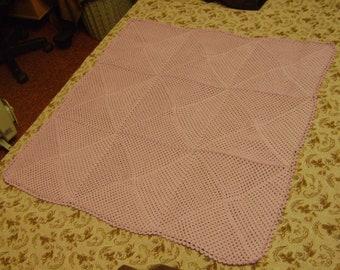 Pink Baby Blanket Afghan Organic Cotton Crochet Handmade