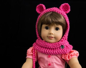 American Girl doll  - Handmade Crocheted hat with ears and matching purse.