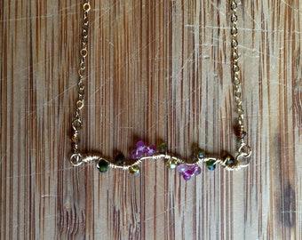 Tourmaline Flowering Vine Layering Necklace 14 Karat Gold Filled Wire and 14 Karat Gold Filled Chain