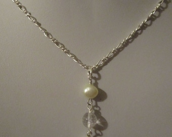 Freshwater pearl and clear quartz necklace and earrings