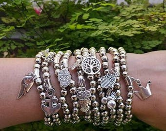 Silver metal beads - silver jewelry - silver bracelets - amulet bracelet - Protection - stretch bracelets - charm jewelry - stacking set