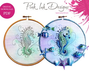 Seahorse pdf embroidery pattern