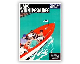 New Hampshire Travel Poster, Lake Winnipesaukee, Railroad Tourism Art, Vintage Style Print, Retro Home Decor