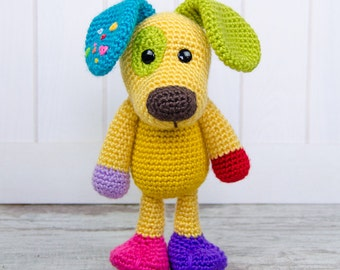 Scrappy the Happy Puppy Amigurumi - PDF Crochet Pattern - Instant Download - Doll crochet rainbow Cuddy Stuff Plush