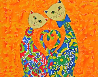 Lovely Cat-Original Abstract Painting-Acrylic-Canvas-Fine Art-Hand Painted