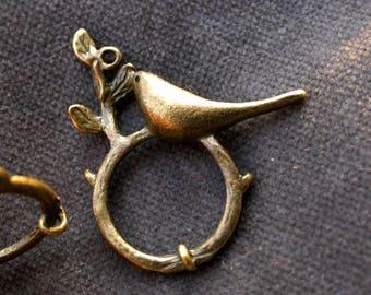 set of 6 brass finish bird pendants connectors bronze