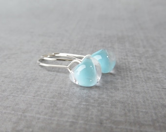 Powder Blue Drop Earrings Silver, Blue Earrings, Small Silver Dangles Blue Glass, Sterling Silver Earrings, Light Blue Lampwork Earrings