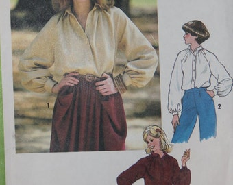 Loose Button Up Collared Gathered Blouse1970s Vintage Sewing Pattern SIMPLICITY 8704