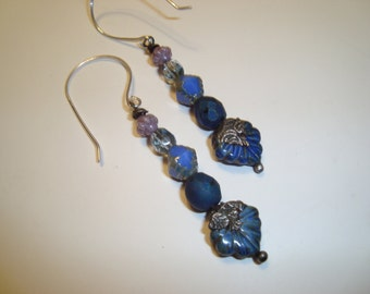 Blue Maple Leaf Earrings, Tinwork Designs by Sasha Crow, Czech Beads, Crows Cash Components, BOHO Desugn, Sterling Silver Ear Wires