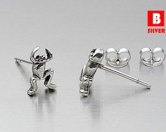 925 Sterling Silver Oxidized Earrings, Frog Earrings, Stud Earrings (Code : ED85)